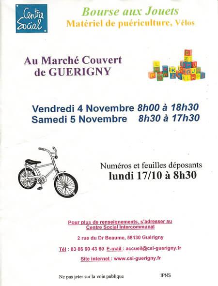 4 et 5 novembre bourse aux jouets guerigny